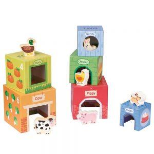 Картонени кубчета с дървени животни
